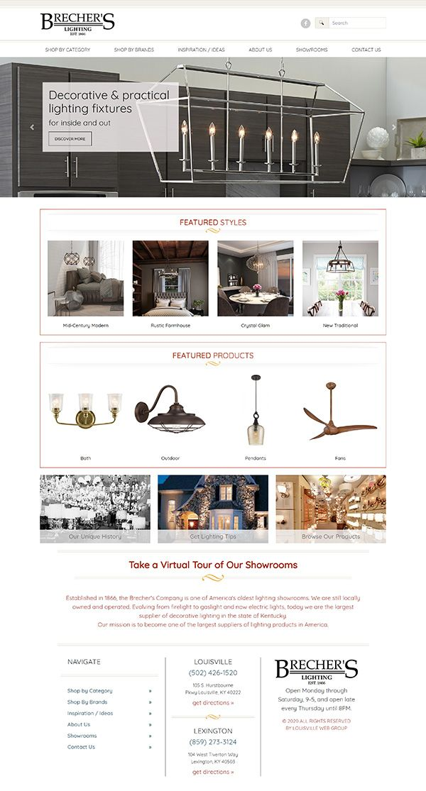 eCommerce website built for Brecher's Lighting, of Louisville and Lexington